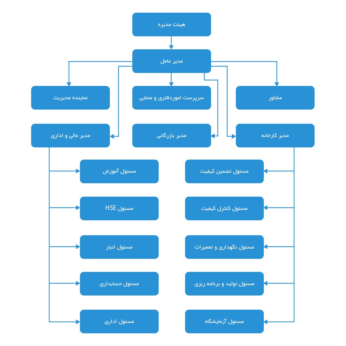 چارت سازمانی شرکت سازه ترمز